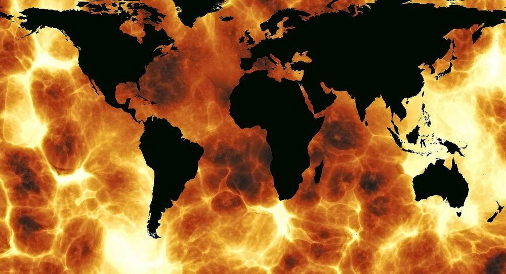 Mapa do mundo em chamas