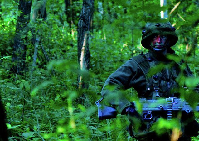 Soldado lituano durante as manobras da OTAN Saber Strike