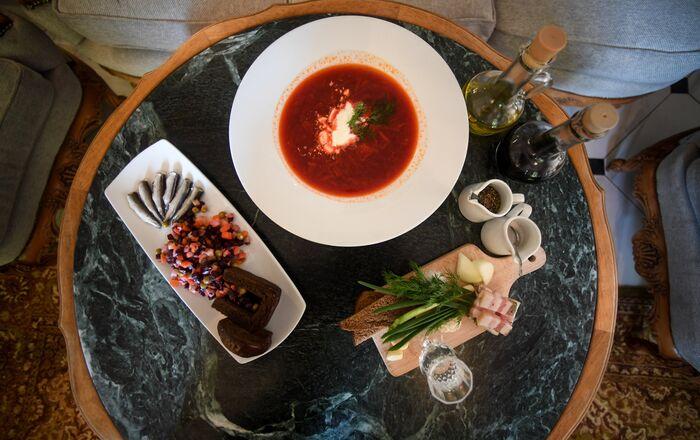 Refeições do Restaurante Tchaikovsky em Kaliningrado