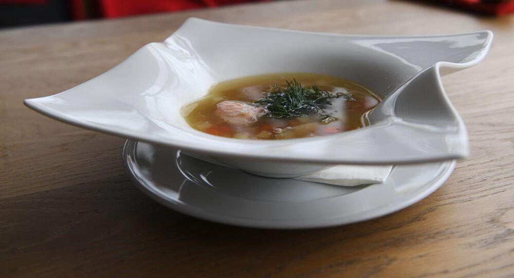 Sopa de peixe do Restaurante Voronezh em Moscou