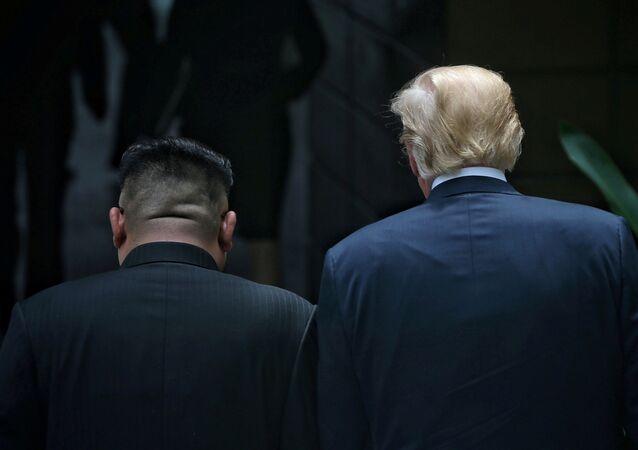 Donald Trump e Kim Jong-un em Singapura, em 12 de junho de 2018