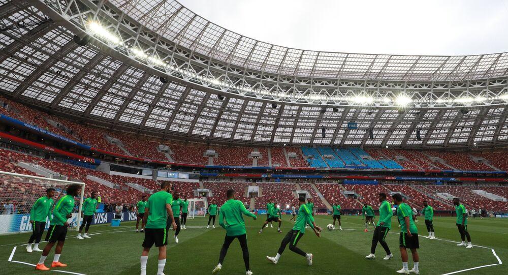 Equipe da Arábia Saudita treinando para o jogo de estreia da Copa do Mundo, contra a Rússia