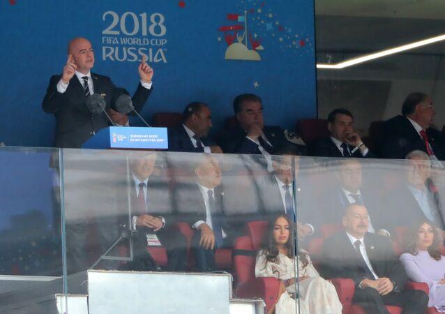 Presidente da FIFA, Gianni Infantino, durante o discurso de abertura da Copa 2018 na Rússia, 14 de junho de 2018