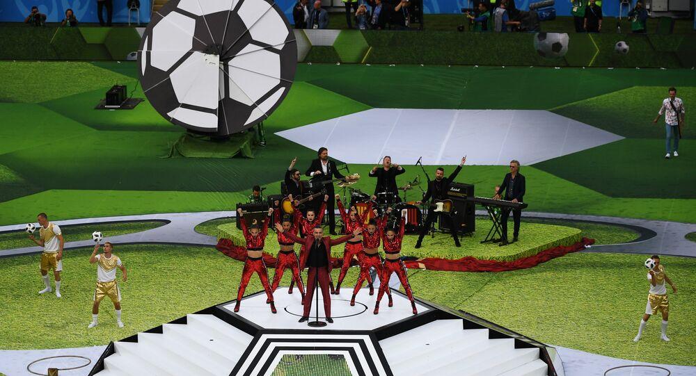 Cerimônia de abertura da Copa 2018 no estádio moscovita Luzhniki, 14 de junho de 2018