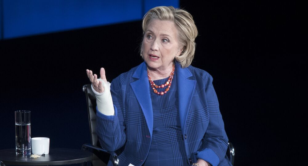 Hillary Clinton speaks during the ninth annual Women in the World Summit, Friday, April 13, 2018, in New York
