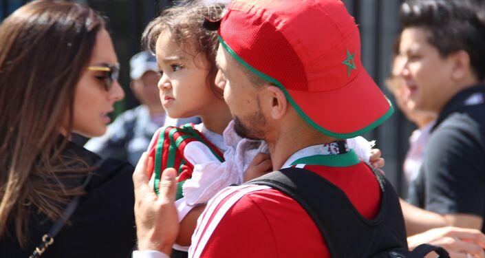 Torcedor marroquino antes do jogo Portugal-Marrocos, em 20 de junho de 2018, em Moscou