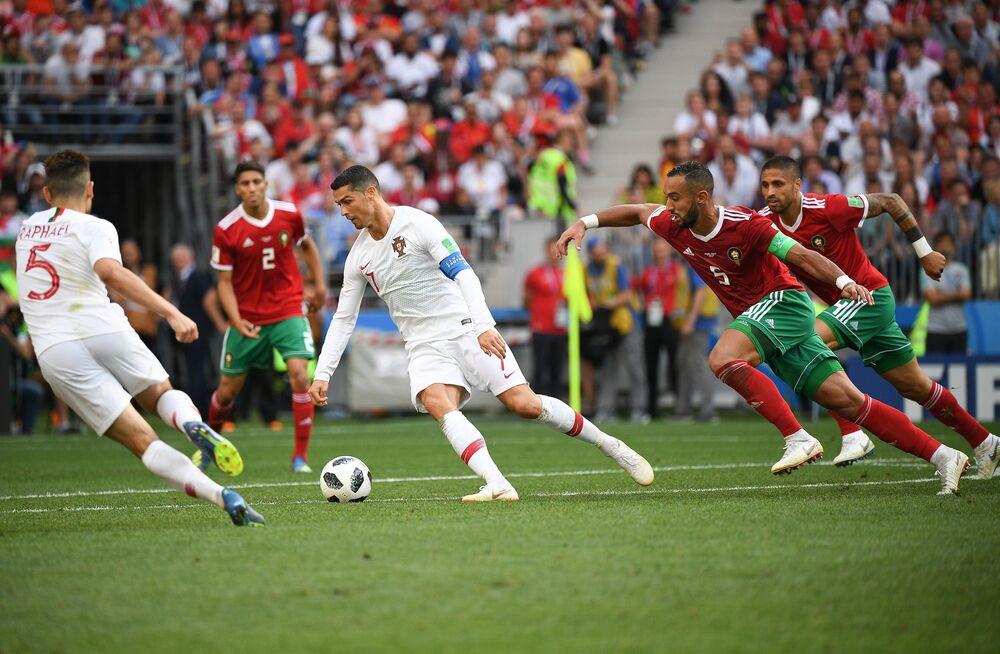 O astro Cristiano Ronaldo durante o jogo entre Portugal e Marrocos pela segunda rodada do grupo B, em Moscou