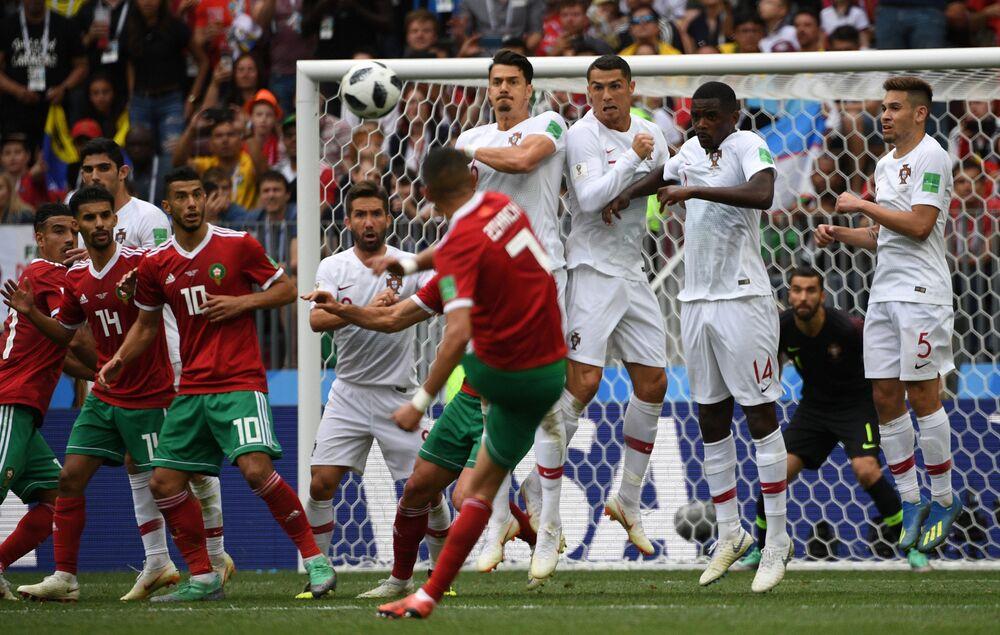 Marrocos x Portugal pela segunda rodada do grupo B, no estádio Luzhniki, em Moscou