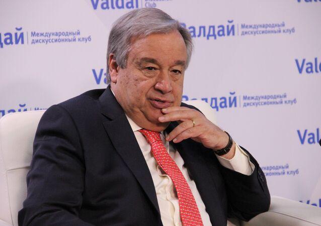 Secretário-geral das Nações Unidas, António Guterres, participa de uma discussão do Clube Valdai, em 21 de junho de 2018, em Moscou
