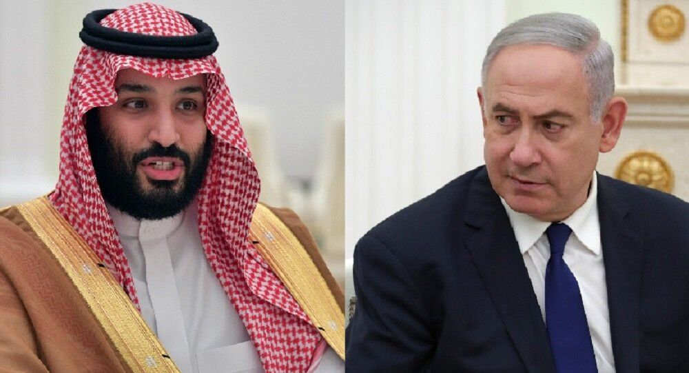 Príncipe herdeiro da Arábia Saudita Mohammad Bin Salman Al-Saud (L) e primeiro-ministro israelense, Benjamin Netanyahu em fotomontagem.