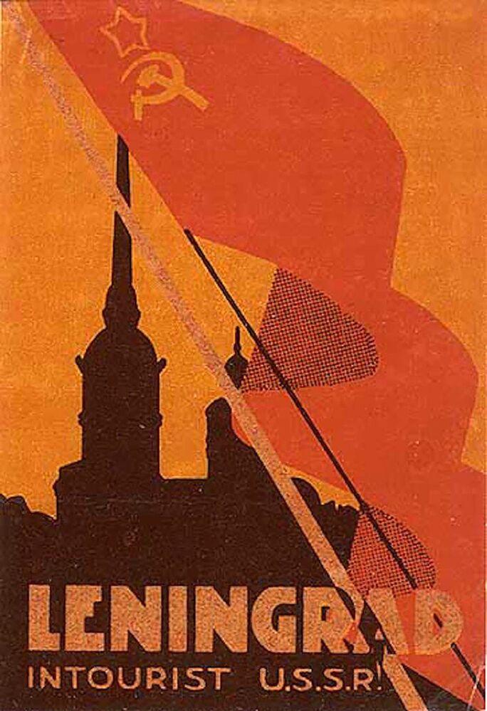 Etiqueta de bagagem soviética intitulada Leningrado, datada da década de 1930
