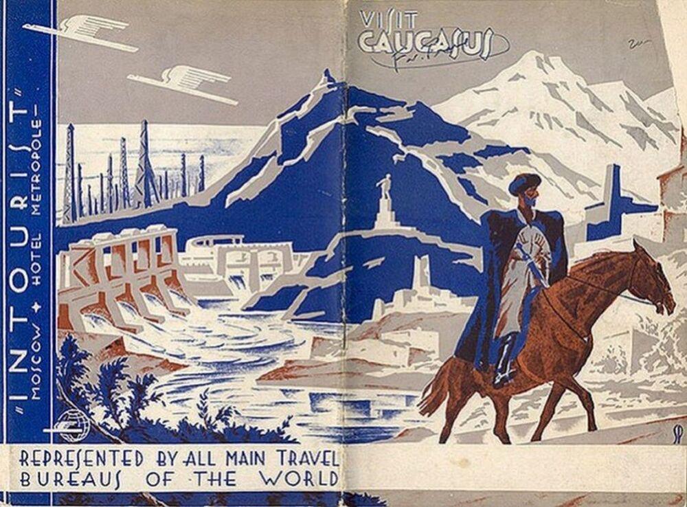 Panfleto turístico intitulado Visitem o Cáucaso, datado de 1931