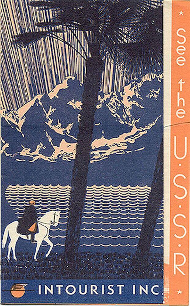 Panfleto turístico intitulado Visite a URSS, datado de 1939