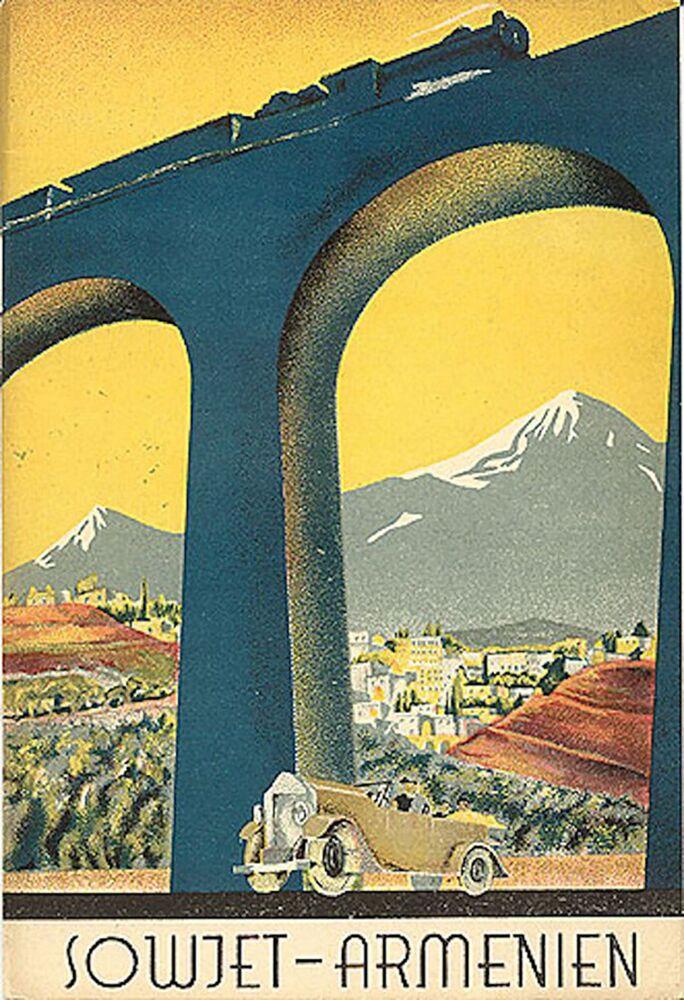Panfleto turístico intitulado Sowjet-Armenien (Armênia soviética em alemão), datado de 1933