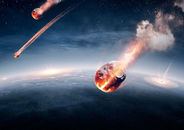 Asteroides em atmosfera da Terra (imagem ilustrativa)