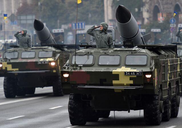 Sistema de mísseis balísticos Tochka de produção soviética é exibido durante o desfile militar dedicado ao Dia da Independência da Ucrânia