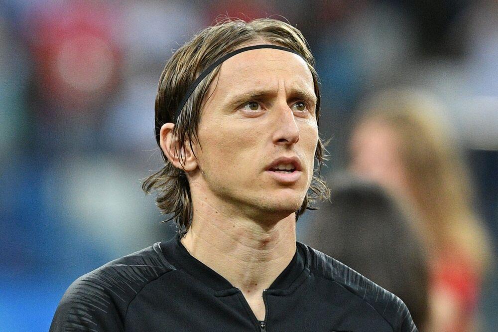 Luka Modric, craque da Croácia, antes do jogo contra a Dinamarca em Nizhny Novgorod