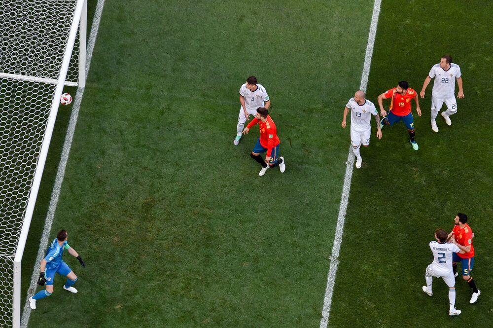 Gol da Espanha contra a Rússia no Luzhniki, em Moscou, abrindo o placar do jogo