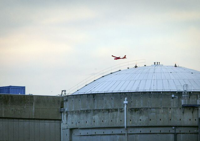 A foto, divulgada pelo Greenpeace, mostra um avião controlado a rádio que sobrevoa a central nuclear de Bugey, França, 3 de julho de 2018