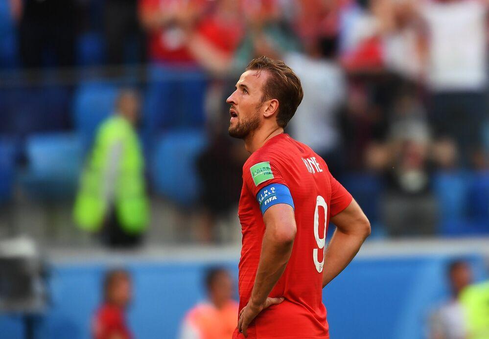 Harry Kane, artilheiro da Copa até então, lamenta derrota diante da Bélgica na disputa do 3º lugar na Copa do Mundo de 2018.