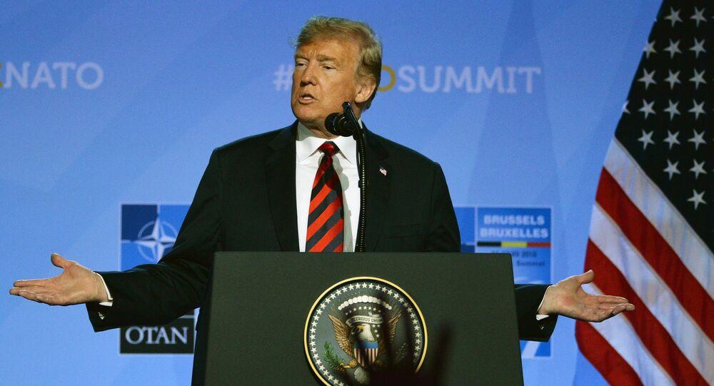 Presidente dos EUA Donald Trump durante a cúpula da OTAN em Bruxelas.