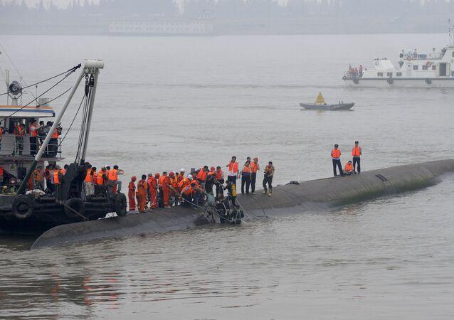 Naufrágio no rio Yangtze, na China.
