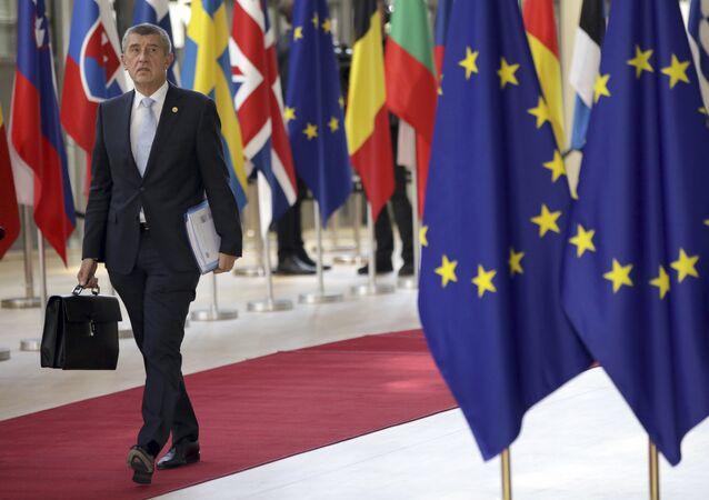 Andrej Babi chega na cúpula da União Europeia em Bruxelas, em junho de 2018.