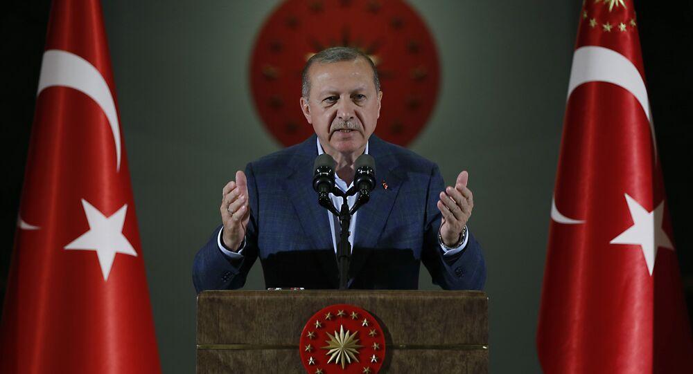 Erdogan discursa durante o Ramadã, em Ancara, em maio de 2018.