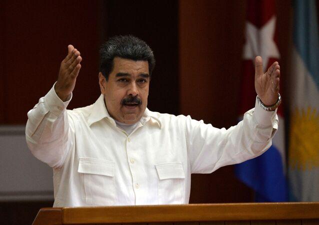 Nicolás Maduro discursa durante Fórum de São Paulo em Havana, 17 de julho de 2018