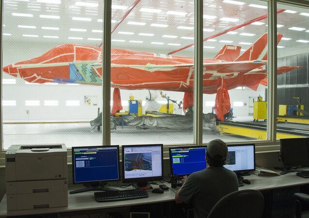 Caça F-35 nas instalações do Lockheed Martin no Texas