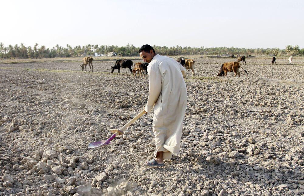 Homem tenta recuperar o campo seco no Iraque