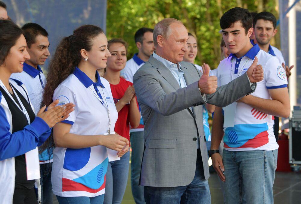 Presidente da Rússia, Vladimir Putin, no Fórum Educacional Juvenil do Norte do Cáucaso – Mashuk 2018, em Pyatigorsk, Rússia, em 15 de agosto de 2018