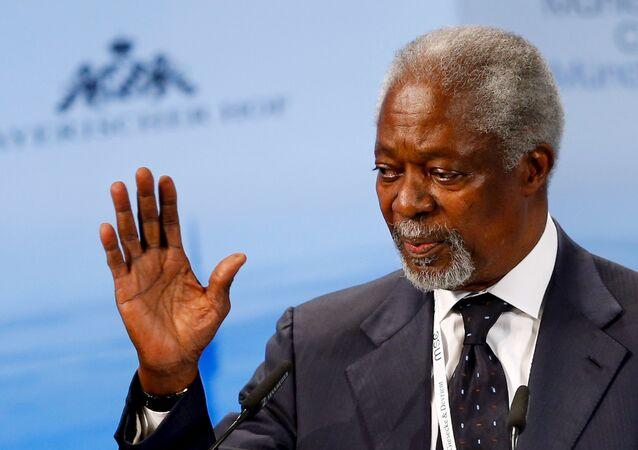 Ex-secretário-geral da ONU Kofi Annan durante a Conferência de Segurança em Munique, em 2016