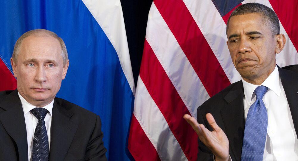 Presidente russo Vladimir Putin e presidente norte-americano Barack Obama reunem-se nas margens da cúpula do G20, México, 18 de junho de 2012