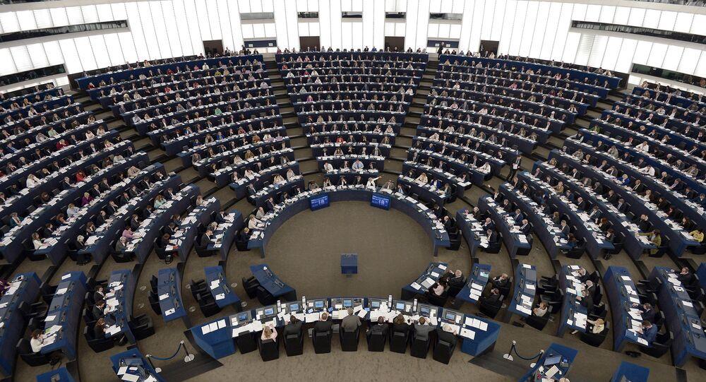 Members of the European Parliament take part in a voting session at the European Parliament