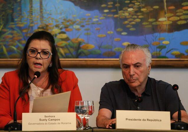 Temer se reúne com a governadora Suely Campos, em Boa Vista