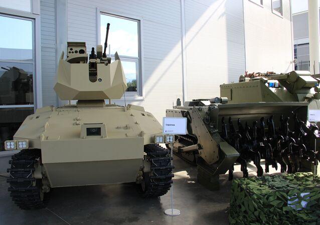 Robô de combate Soratnik é mostrado durante o fórum militar EXÉRCITO 2018