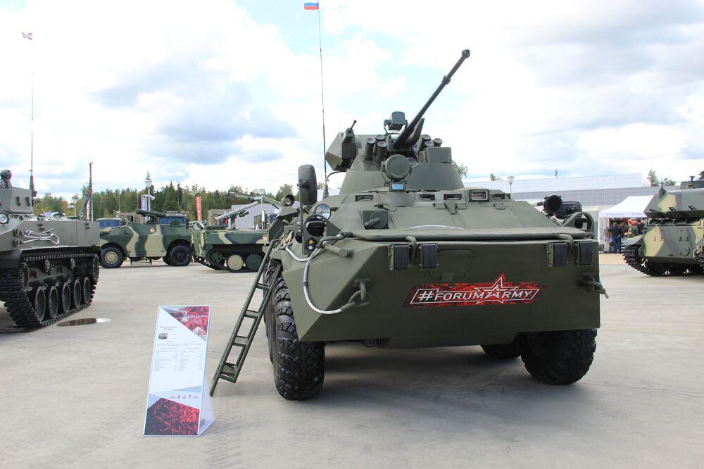 Veículo blindado russo BTR-82 é mostrado durante o fórum militar EXÉRCITO 2018