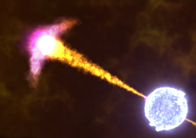 Animação de uma explosão de raio gama feita pela NASA