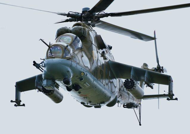 Helicóptero Mi-24 nas manobras conjuntas Missão de Paz 2018 efetuadas pela OCX