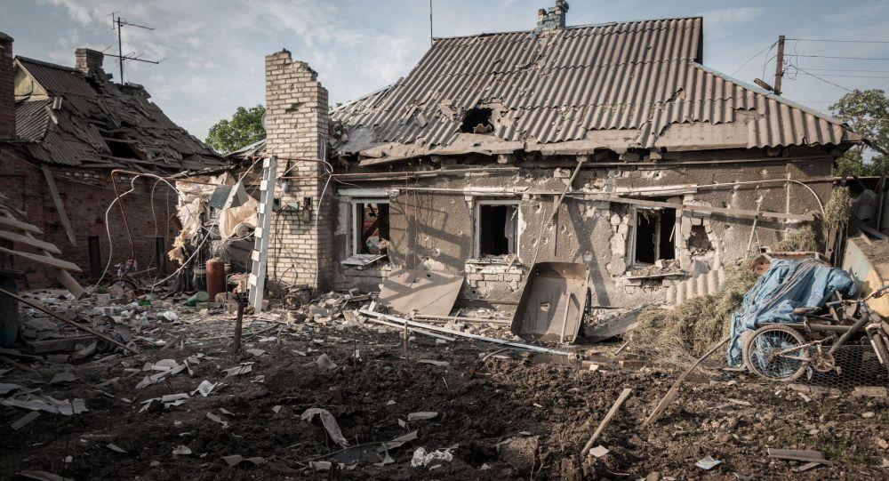 Povoado de Gorlovka, em Donbass, após ataque realizado por militares ucranianos.