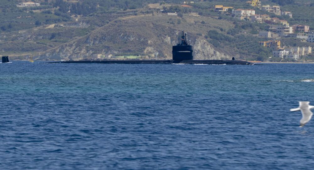 Submarino nuclear americano USS Newport News perto do litoral grego (foto de arquivo)