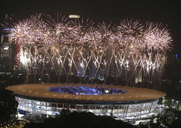 Cerimônia de abertura dos Jogos Asiáticos de 2018, no estádio Gelora Bung Karno, em Jacarta, capital da Indonésia.