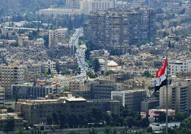 Uma visão da Montanha Qasioun em Damasco