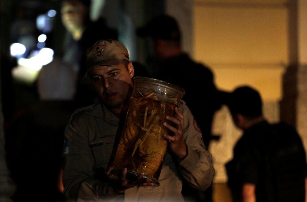 Bombeiro salvando um dos itens do Museu Nacional no Rio