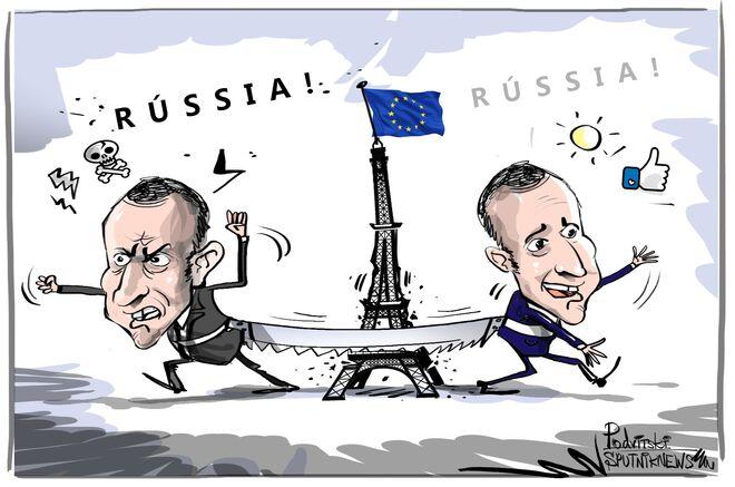 Esse vai e vem de Macron acabou parando... na Rússia