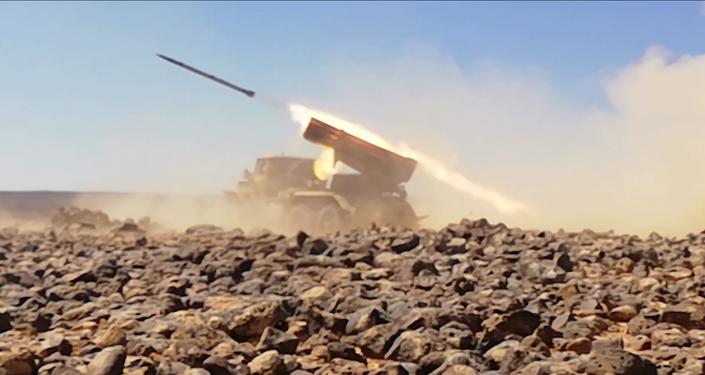 Operação ofensiva conduzida pelo Exército sírio contra terroristas nas colinas de Tulul al-Safa, na província de As-Suwayda, Síria