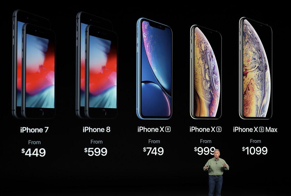 O vice-presidente de marketing da Apple, Phil Schiller, fala sobre os novos Apple iPhone XS, iPhone XS Max e iPhone Xr no teatro Steve Jobs durante o lançamento dos novos produtos da Apple, 12 de setembro