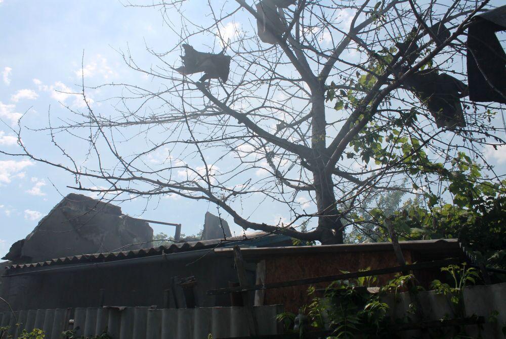 Prédio habitável destruído por bombardeio do distrito Oktyabrsky de Donetsk