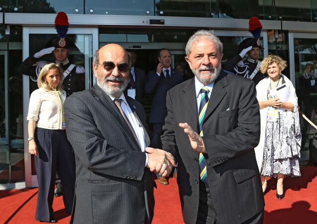 Diretor geral da FAO, José Graziano com ex-presidente Lula na 39ª COnferência da entidade